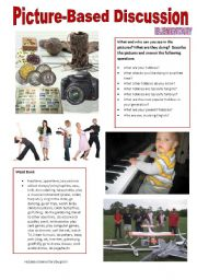 English Worksheet: Picture-based discussion Elementary - (08) Hobbies