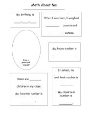 English Worksheets: Math about me