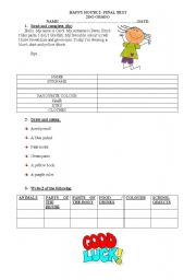 English Worksheet: HAPPY HOUSE 2