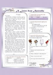 English Worksheet: A letter from Australia