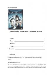 Gattaca - movie activity - ESL worksheet by eltonusp
