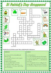 English Worksheet: Saint Patrick´s Day crossword