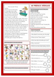 English Worksheets: My Friend�s Weekdays (Daily Activities)