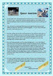 English Worksheet: Space Tourism:9th form mid-termtest