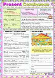 English Worksheets: Present Continuous (1)  -  Use + Form + exercises