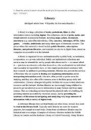 English Worksheet: LIBRARY