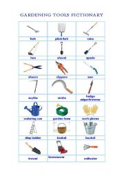 English worksheets gardening tools pictionary for Gardening tools tagalog