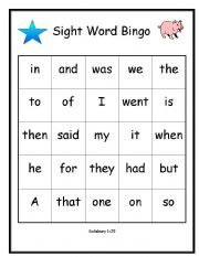 graphic about Sight Word Bingo Printable titled English worksheets: Bingo - Salisbury Sight Phrases 1-25