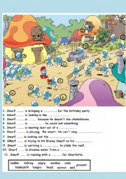 English Worksheets: In the smurfs� village