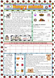 English Worksheets: Hungry animals (KEY included)