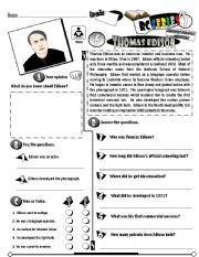 English Worksheet: RC Series Famous People Edition_06 Thomas Edison (Fully Editable) (RE-UP)
