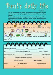 English Worksheets: Paul�s daily life