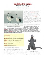 English Worksheets: Godzilla the Crane