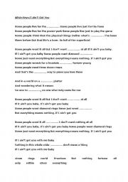English Worksheets: Alicia Keys/If I Ain�t Got You Song Worksheet