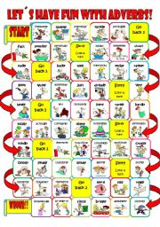 English Worksheets: adverb board game