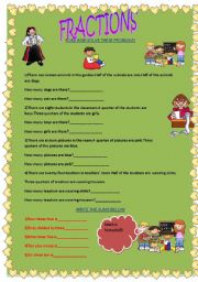 English Worksheets: Fractions