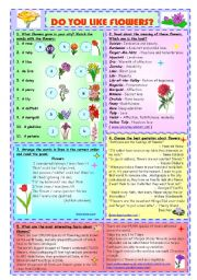 English Worksheet: Do You Like Flowers?