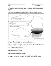 Worksheet Types Of Clouds Worksheet english worksheets types of clouds worksheet clouds