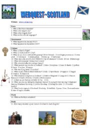 English Worksheet: Webquest~Scotland