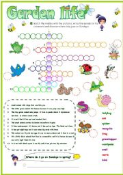 English Worksheets: Some animals live in my garden crossword (2 versions)