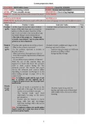 English Worksheet: detailed lesson plan