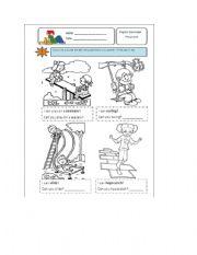 English Worksheets: Playing