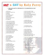 English Worksheet: Song hot n cold by Katy Perry