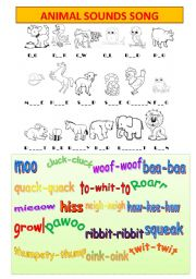 English Worksheet: animal sounds song