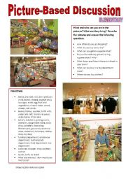English Worksheet: Picture-based discussion Elementary - (10) Shopping