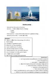 English Worksheet: nuclear energy