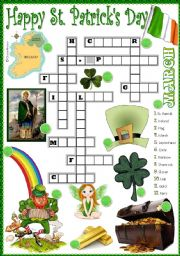 English Worksheet: St. Patrick�s crossword