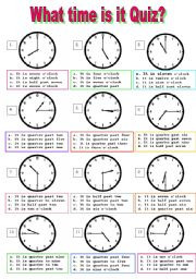 English Worksheet: What time is it multiple choice test