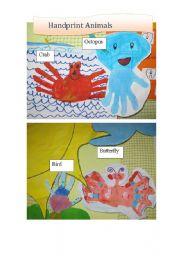 English Worksheets: Handprint Animals