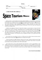 English Worksheet: A test on Space Tourism