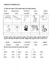 English Worksheets: ANIMALS IN DANGER - LEVEL B