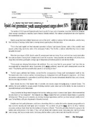English Worksheet: Test on Unemployment