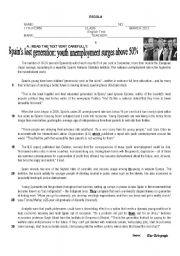 English Worksheet: Test on Unemployment