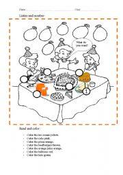 birthday party esl worksheet by hams almesa. Black Bedroom Furniture Sets. Home Design Ideas