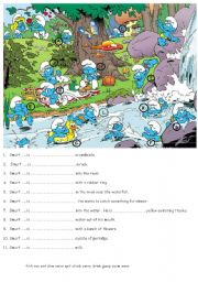 English Worksheets: In the smurfs� village 2 (near the river)