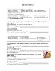 English Worksheet: Indirect Questions Worksheet