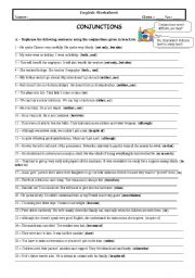 English Worksheets: Conjunctions (With Key)