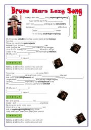 English Worksheets: Bruno Mars Lazy Song