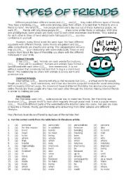 English Worksheets: Types of Friends