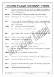 English Worksheet: Subject verb agreement (Rules + Exercises)