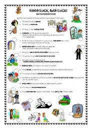 English Worksheet: Good luck, bad luck - British superstitions