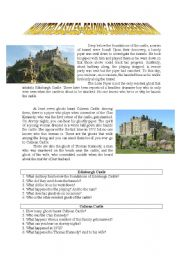 English Worksheet: Haunted Castle~Reading Comprehension