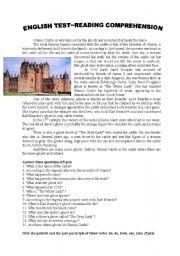 English Worksheets: Glamis Castle~Reading Comprehension