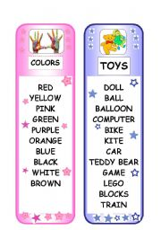 BOOKMARK - COLORS AND TOYS