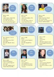English Worksheet: Guess who cards