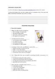 English Worksheets: Alcoholics Anonymous